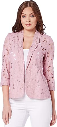 Roman Originals Women Floral Lace Jacket - Ladies Petal Cotton Blazer Smart Formal Occasion Wedding Guest Ascot Tailored Fitted Evening Cardigan - Rose - Size 12