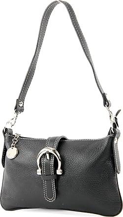 modamoda.de Italian handbag shoulder bag tote bag messenger bag real leather bag T05, Colour:black