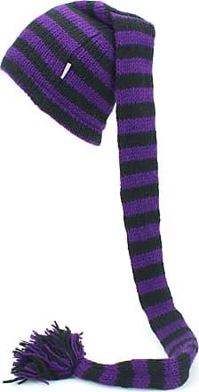 Loud Elephant Wool Knit Tinky Winky Tail Beanie Hat - Purple & Black