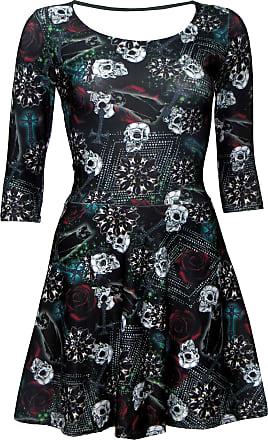 Insanity Gothic Skulls Roses Wiccan Cross Cat Black Magic Print 3/4 Sleeve Halloween Skater Dress