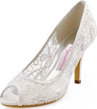 Elegantpark HP1400 Womens Peep Toe Pumps Stiletto High Heels Prom Lace Wedding Party Court Shoes Ivory UK 5