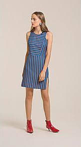 Lebôh Vestido Curto Decote Redondo Abertura Lateral Azul G