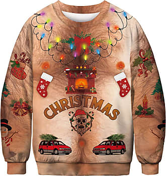OLIPHEE Mens 3D Christmas Ugly Hoodie Party Jumper Funny Festival Element Printed Pullover Long Sleeve Shirt Xmas Chest Hair M