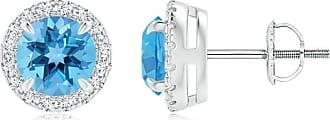 Angara Valentine Day Sale - Claw-Set Swiss Blue Topaz and Diamond Halo Stud Earrings