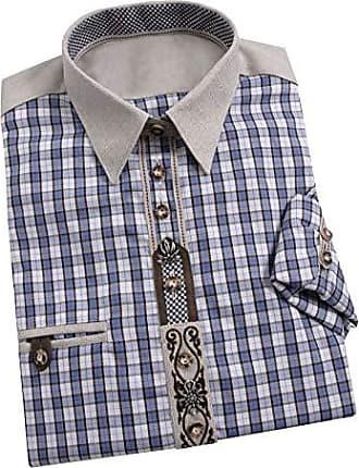 Burlady Herren Hemd Kurzarm Langarm Leinenhemd aus Baumwollmischung Kariert Sommer Freizeit Men/´s Shirt