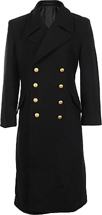 Mil-Tec Black Full Length Double Brested Naval Great Coat (36-38 inch)