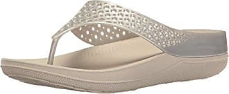 FitFlop Womens Ringer Welljelly Flip Flop, Silver, 5 M US