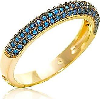 Vivid Aliança Vivid 3 Linhas Redonda Cravejada Ouro Semi Joia Aro:21;Cor:Azul