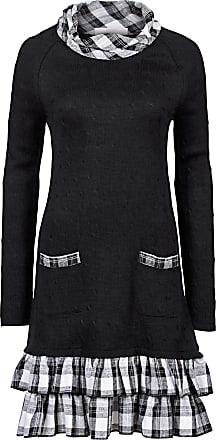 0091d525b44f Bonprix Dam Stickad klänning i materialblandning i svart lång ärm - RAINBOW