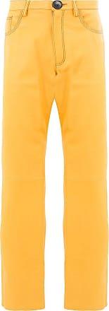 Wales Bonner Calça de couro - Amarelo