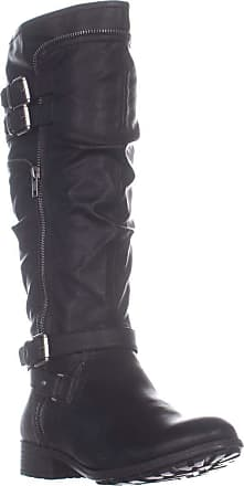 White Mountain Womens Remi Round Toe Knee High, Black/Burnished Smooth, Size 6.0 US