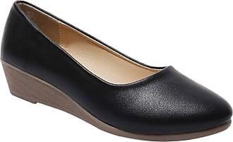 Daytwork Women Pumps Uniform Dress Shoes - Ladies Wedge Heel Round Toe Platform Loafer Flats Moccasin Comfy Soft Leather Oxfords Office Casual Lightweight (Sho