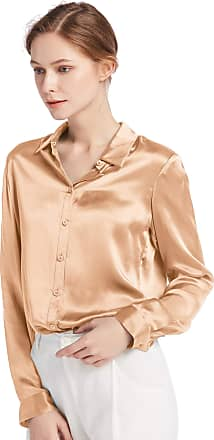 LilySilk Womens 100 Charmeuse Silk Blouse for Lady Long Sleeve Top 22 Momme Pure Silk (XXL/20-22, Light Camel)