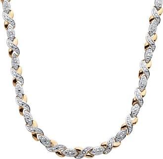 PalmBeach Jewelry 1/5 TCW Diamond X and O Necklace in 18k Gold-Plated
