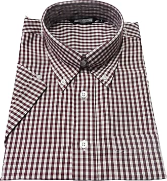 Relco Retro Gingham Classic Vintage Mod Button Down Short Sleeve Shirts (x Large, Wine)