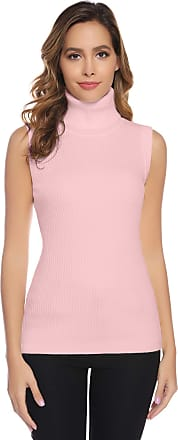Abollria Women Jumper Vest Polo Neck Cable Knit Sleeveless Pullover Sweater Knitwear Top Pink