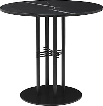 GUBI TS Column Table Marble Top & Black Base Small
