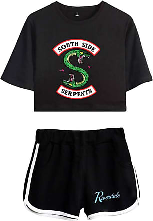 OLIPHEE Women Casual Tracksuits 2pc Tops and Shorts Pyjama Sets Riverdale Summer T-Shirt Striped Sport Wear Printed with South Side 4822 Logo Black-2 2XL