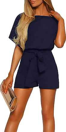 Yidarton Womens Short Sleeve Jumpsuit Ladies Solid Casual Short Playsuit Romper with Belt