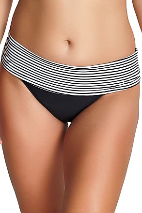 Panache Women Anya Briefs Striped Bikini Bottoms, Multicoloured (Black/White), 10