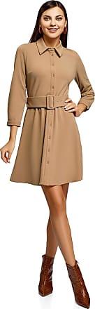 oodji Womens Belted Jersey Dress, Beige, UK 14 / EU 44 / XL