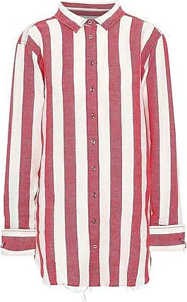 ed99fc3ee3c426 Marques Almeida Marques Almeida Woman Striped Linen And Cotton-blend Shirt  Tomato Red Size XS