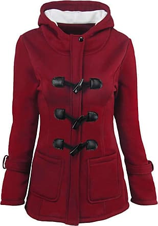 Saoye Fashion Jacket Ladies Autumn Winter Long Sleeve Coat Hooded Clothes Vintage Casual Warm Duffle Coat Outwear Jackets Big Sizes (Color : Wine Rot, Size : L)