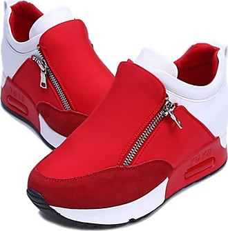 NOADream Womens Sneakers Casual Shoes Platform Wedges Stylish Lightweight Breathable Fitness Athletic Outdoor Walking Jogging Trainers for Ladies Red