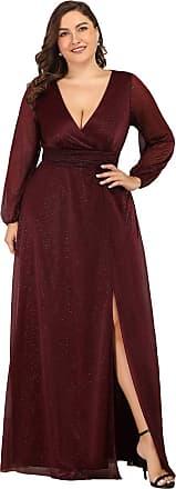 Ever-pretty Womens V Neck Empire Floor Length with Thigh High Slit A Line Plus Size Evening Party Dresses Burgundy 18UK