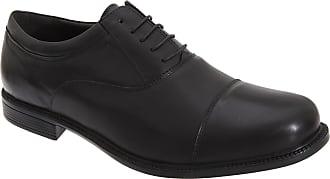 Roamers Roamer Mens Fuller Fitting Capped Leather Oxford Shoes (14 UK) (Black)