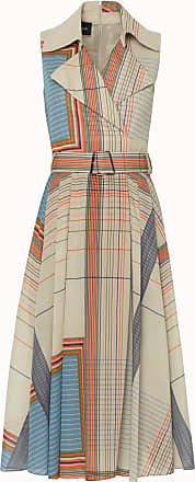 Akris Sleeveless Scarf Print Cotton Midi Dress