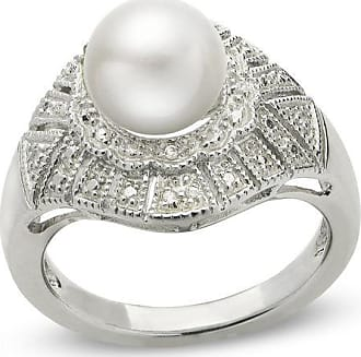 Zales 8.0 - 9.0mm Baroque Cultured Freshwater Pearl and White Zircon Vintage-Style Ring in Sterling Silver