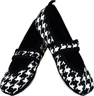 Nufoot Betsy Lou Womens Shoes, Best Foldable & Flexible Flats, Travel & Exercise Shoes, Dance Shoes, Yoga Socks, Indoor Shoes, Slippers, Black with White Hounds Tooth, X-Large