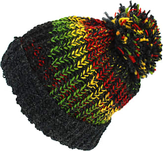 Loud Elephant Wool Knit Beanie Bobble Hat - Rasta