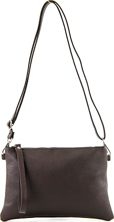 modamoda.de T186 - Italian Clutch/Shoulder Bag Leather Medium, Colour:Dark Chocolate