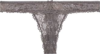 Savage x Fenty Womens Reg Floral Lace Thong, Blackened Grey Pearl, S