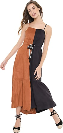 Dress To Vestido Dress to Midi Suede Caramelo/Preto