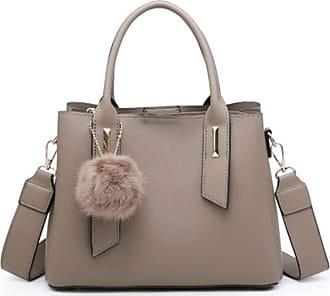 LeahWard Women/'s Soft Faux Fur Tote Shoulder Bags Pom Pom Holiday Handbags Gift