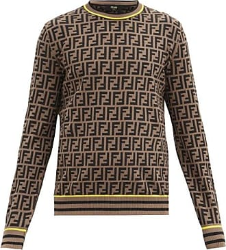 Fendi Ff Monogram-jacquard Jersey Sweater - Mens - Brown