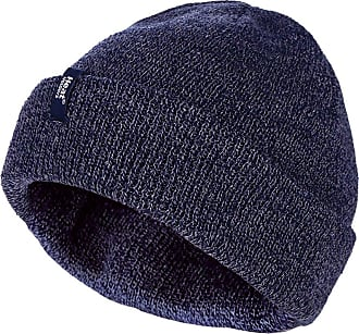 Heat Holders Mens 3.6 tog Fleece Lined Thermal Turn Over Cuff Winter Beanie Hat 3 Colours (One Size, Navy)