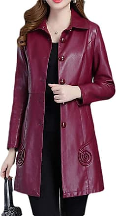 H&E Women Casual Autumn Faux Leather Single Breasted Outwear Trench Coat Dark Purple M