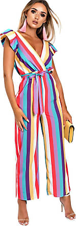 Ikrush Faith Stripe Wide Leg Jumpsuit Multi UK M/L