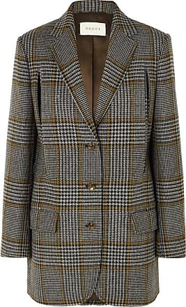 54c99dd42d7e Gucci Cape-effect Prince Of Wales Checked Wool-blend Blazer - Gray