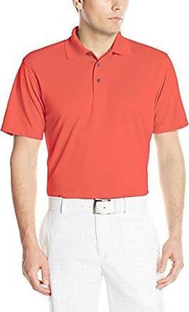 PGA Tour Men/'s XL Short Sleeve Airflux Color Block Polo Shirt Hot Coral