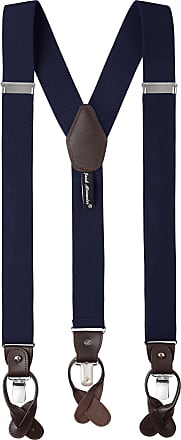 Jacob Alexander Mens Solid Elastic Y-Back Suspenders Braces Convertible Leather Ends Clips - Navy