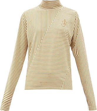 J.W.Anderson Roll-neck Striped Cotton-blend Top - Womens - Beige White