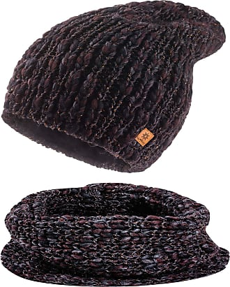 morefaz Set Scarf & Hat Women Winter Beanie Hat Worm Knitted Alpaca Wool Hats Fleece Lining (Set Scarf&Hat Tobacco)