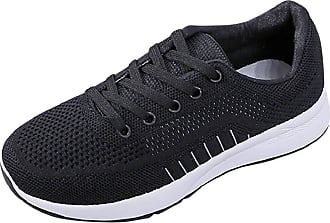 Yvelands Sports Shoes Women Running Casual Mesh Lightweight Lace Up Flat Outdoor Fitness Jogging Road Running Sneaker Shoes Ladies Gym Trainers Black