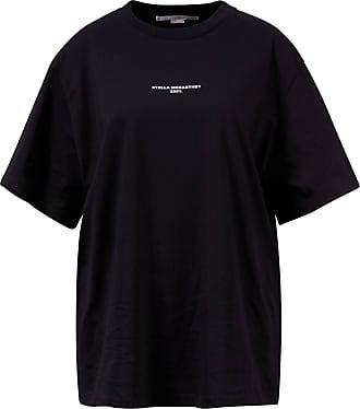Stella McCartney Baumwoll-T-Shirt mit Logo Print Schwarz