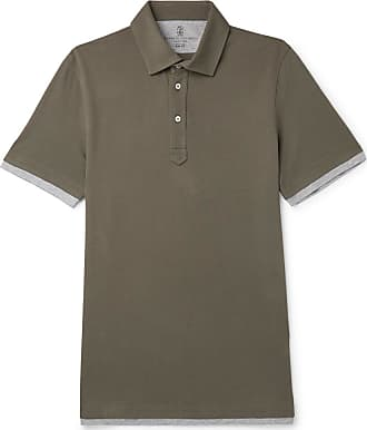 Brunello Cucinelli Slim-fit Jersey-trimmed Cotton-piqué Polo Shirt - Green